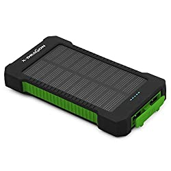 Solar Charger, X-DRAGON Solar Power Bank 10000mAh Portable Rugged Shockproof Dual USB Solar Battery Charger for iPhone 6 Plus 5S 5C 5 4S, iPod, Samsung Galaxy, GPS and More(Green)