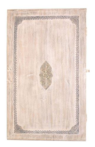 Orientalischer Indischer Landhaus Tisch Truhentisch Couchtisch White Wash Abanoub - 100cm -