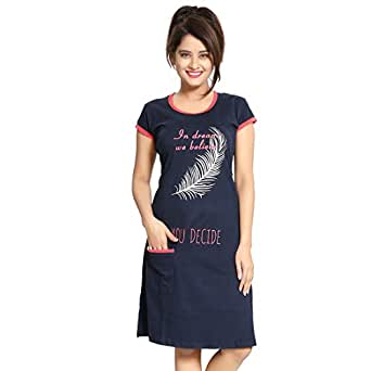 Fassion Women's Nighty Pink (Small, Navy Blue)