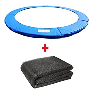 Greenbay Trampoline Replacement Spring Cover Padding Pad & Safety Net Enclosure Surround Bundle 10FT Blue for 6 poles Trampoline