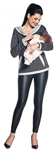 Zeta Ville - Maternité pull molletonné à capuche d'allaitement - femme - 469c Graphite Mélange