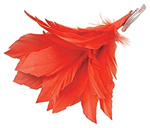 Bristol Novelty BA1010 - Pasador de Pelo de Pluma, Color Rojo, para Mujer, Talla única