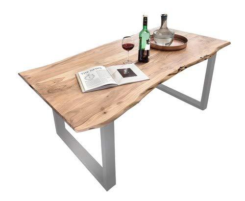 SAM® Stilvoller Esszimmertisch Quarto 160 x 85 cm aus Akazie-Holz, Tisch mit Silber lackierten Beinen, Baum-Tisch mit naturbelassener Optik