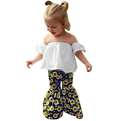 Livoral Kleinkind Baby Girl Set Off Schulter Top + Sunflower Print Pants(Weiß,90)