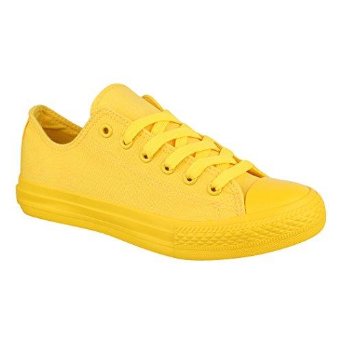 Elara Unisex Sneaker | Damen Herren | Low Top | Chunkyrayan ZY9032/34-12 Yellow-41