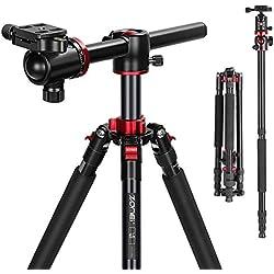 ZOMEi M8 Trépied appareil photo, Monopode en aluminium, trépieds professionnel compact à bras prolongateur, rotule métal à 360 degrés et colonne centrale inversée à 90° pour Canon Sony Nikon DSLR, etc