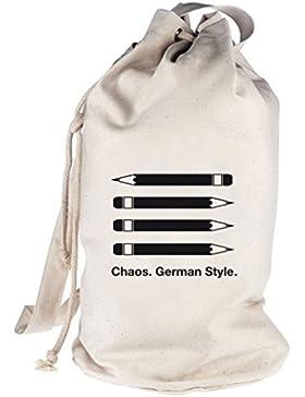 Shirtstreet24, Chaos. German Style. bedruckter Seesack Umhängetasche Schultertasche Beutel Bag
