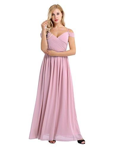 iEFiEL Elegant Damen Brautjungfern Kleid Festliches Kleid Hochzeit Kleider Cocktailkleider Off-Shoulder Partykleid A-Linie Abendkleider Dusty Rose 38-40 (Herstellergröße: 8) (Brautjungfer Dusty Kleider Rose)