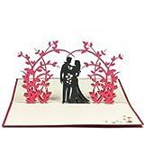 Favour Pop Up Hochzeitskarte - Paar unter Rosensträuchern. Auf kleinstem