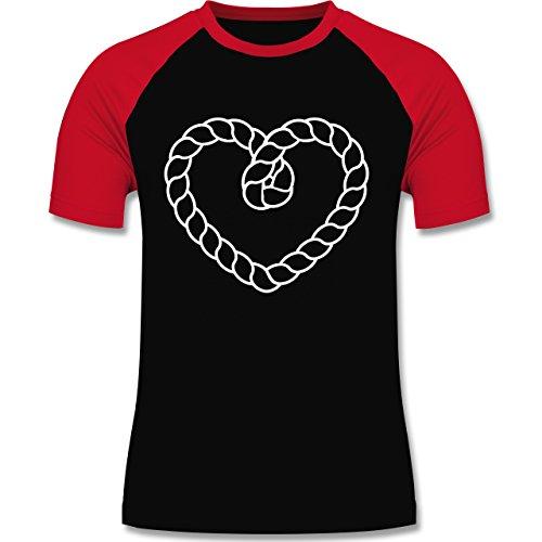 Romantisch - Tau Herz - zweifarbiges Baseballshirt für Männer Schwarz/Rot