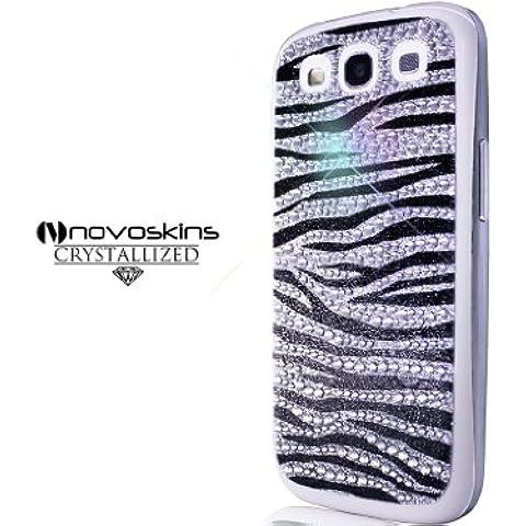 Samsung Galaxy S3 III GT i9300 Novoskins Silver Argento Crystal Zebra Skin (luxury sticker decoration) Free Bumper SALE