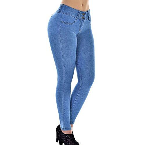 Juleya Damen Jeanshose Slim Fit Jeanshosen Super Elastisch Stretch Hosen Hellblau/M