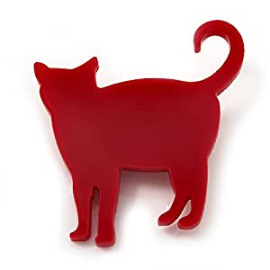 Broche Chat acrylique rouge