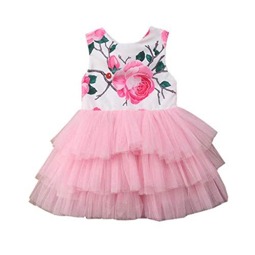 MädchenKleid Babykleidung, YanHoo Kleinkind Kinder Prinzessin Blumen Party Pageant Tutu Tüll Kleid Kleid ärmellose drucken Nähte Netz Prinzessin Kleid (6M-5J)