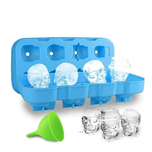 HoneyHolly 3D BPA Frei Schädel Eiswürfelform Mit Deckel, Flexible Lebensmittel Gerade Silikon Eis Würfel Schokolade Süßigkeiten Schimmel Trays, Perfekte für Kinder, Halloween Geschenke