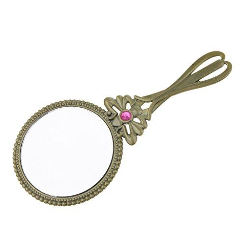 D DOLITY Rétro Antique Carré Miroir de Maquillage Poignée en Métal Plate Beauté Miroir Couleur Bronze
