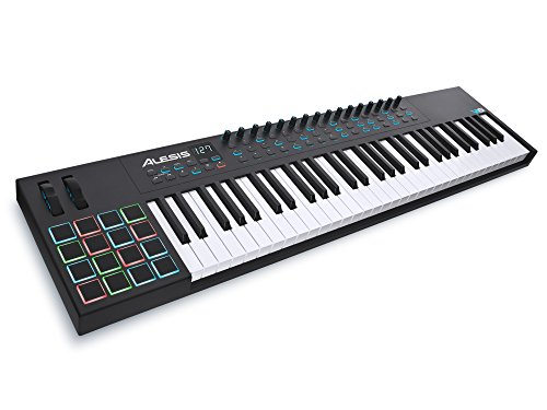 Alesis VI61 - Teclado controlador USB-MIDI avanzado de 61 teclas con 16 pads, 16 potenciómetros asignables, 48 botones y salida MIDI de 5 pin, software Incluido