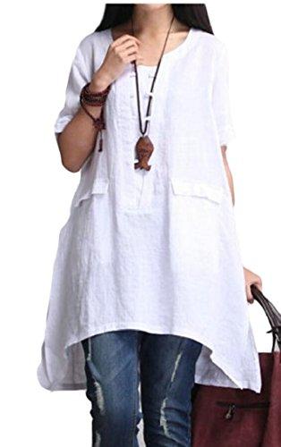 Gocgt Women Casual Short Sleeve Loose T Shirt Cotton Linen Blouse Tops