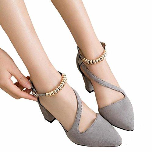 DM&Y 2017 Suede wies grobe mit einem einzigen Wort Schnalle Schuhen Frauen Mode-Karriere hochhackige Sandalen hohl Grey