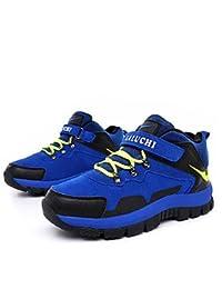 aemember Boy Otoño Invierno Zapatos De Athletic comodidad tul Casual sintética Athletic soporte de talón cordones verde gris Royal azul senderismo, US7 / EU39 / UK6 Big Kids, Royal Blue