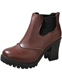 Zapatos de mujer Botas de mujer Botines cortos para mujer Moda De tacón alto Talón cuadrado Martin Boots Invierno Casual Martín Botas LMMVP