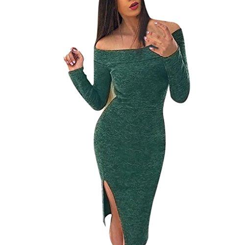 Amlaiworld Frauen aus Umhängeta figurbetontes Langarm Club Party Cocktail Kleid A,Grün