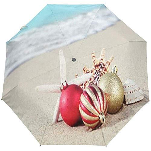 Merle House Regenschirm Frohe Weihnachten und Geschenke Golf Reisen Sonne Regen Winddicht Auto Regenschirme mit UV-Schutz für Mädchen Jungen Kinder -