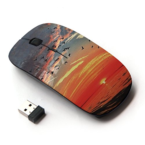 Mouse ottico portatile mobile Wireless Mouse 2.4G per Notebook, PC, Notebook, Computer, Macbook (Mar Sunset Clouds Red Sky Birds Ocean)