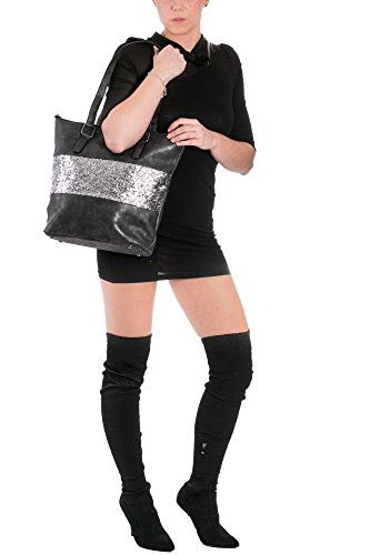 8bcffcef14e70 Damen Handtasche Shopper schultertasche umhängetasche streifen Stern  Glitzer Cut out Vintage look metallic jeansblau 38x32x12 cm ...