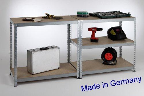 Werkbank II, Professional 200x90x60cm, 175kg/Boden, verzinkt Metall / Stahl - Regal -