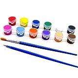 Yichener, set di 12 colori acrilici con pennello ad acqua e pigmenti per abbigliamento, tessuto dipinto a mano, pittura a gesso, pittura per bambini