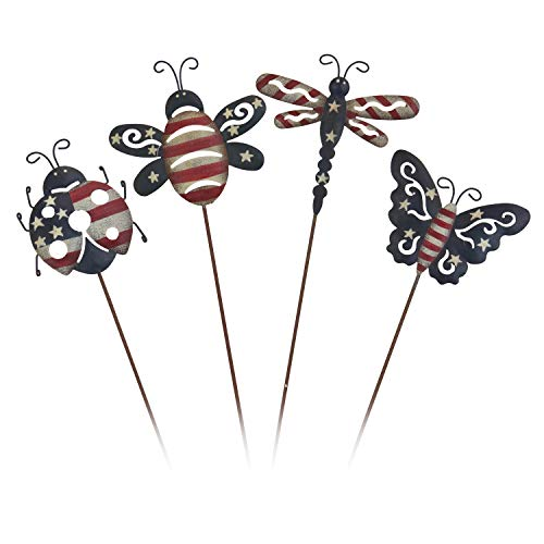 OBI Mini-Insekten-Metall-Pieße Set von 4 - Biene, Libelle, Schmetterling und Marienkäfer Silhouette Picks Americana Terrasse Decor Party Supplies für Garten Dekoration