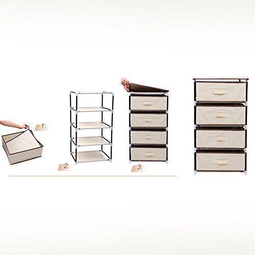 Songmics organizador con 4 cajones armario de tela modular - Cajones de tela ikea ...