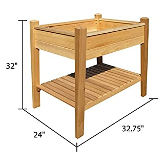 ARBORIA Cedar Raised Garden Planter Box with Shelf Grow Plants and Flowers For Patio and Outdoors