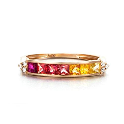 Aeici 18K Gold Ring Damenring CZ-Kreis Roségold Größe 45 (14.3)