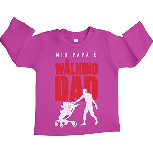 Shirtgeil mio papà è the walking dad - regalo padre maglietta neonato manica lunga unisex 12-18 mesi rosa
