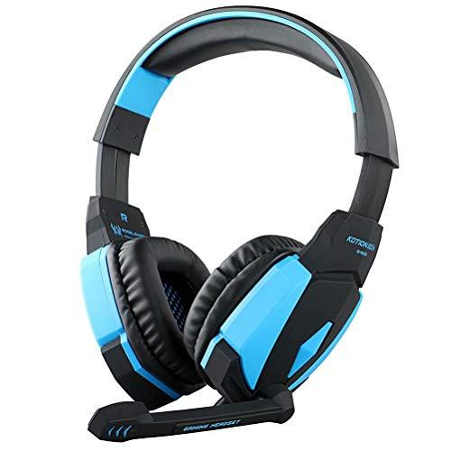 CSZH USB Stereo Gaming Headphones cuffie con microfono Volume Control LED Light per Xbox One PC Laptop Tablet Mac Smart Phone (nero blu)