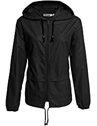 Meaneor Chaqueta impermeable para mujer chubasquero compresible outdoor con capucha para mujer