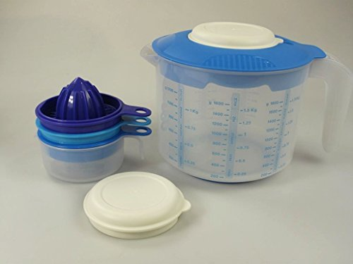 TUPPERWARE Backen Messbecher Candy Rühr-Mix 2,0 L D216 +Küchenperle Küchenhelfer 31566 (Tupperware Zitronenpresse)