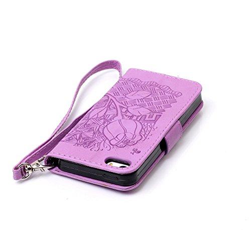 iPhone 7 Etui Cuir [Impression] - Camiter rose Concepteur de rêve Etui à Rabat Fonction Portefeuille de Carte Slots Support Bouton Magnétique Case Housse Coque Apple iPhone 7 + Chiffon de nettoyage gr Rose pourpre