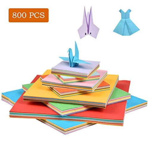 WOWOSS 800 Blätter in 50 kräftige Farben, Doppelseitig Origami-Papier für Kunst- und Bastelprojekte, 10 lebendige Farben mit 4 verschiedenen Papierformaten für Kinder -