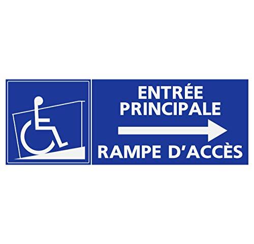Haupteingang (Supstick Sticker Handicapé - Person, mit reduzierter Mobilität, Einstiegsrampe für Haupteingang, Pfeil rechts, 24 x 8 cm)