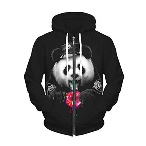 Flower Weyi Paar 3D-Sweatshirts Drucken Golden Lightning Lion Panda Wolf Kapuzenpullis mit Reißverschluss Dünne Trainingsanzüge Harajuku Sky Blue S (Halloween Assassino Panda)