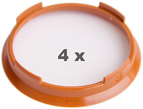 4 x Zentrierringe 70.4 mm auf 65.1 mm hellbraun/light brown
