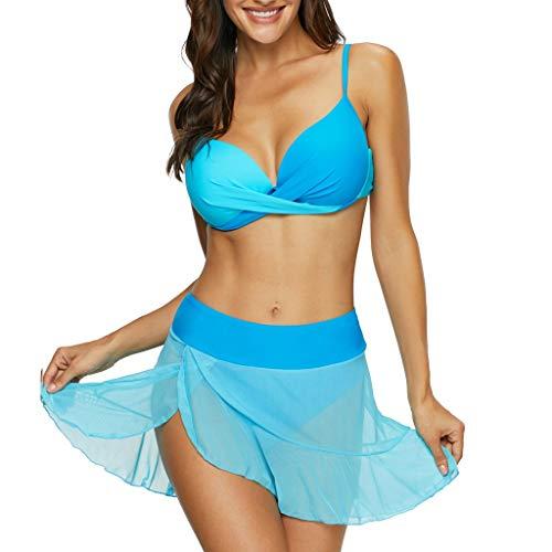 VBWER Damen Badeanzug Geteilter Einfarbig Bademode Bauchweg High Waist Bikini Sportliches Bademode Strand Bikini Große Größe Strandmode