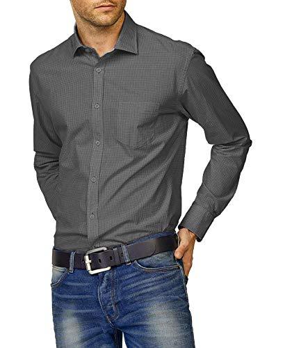 Drucken Regular Fit Hemd (Coofandy Herren Freizeit Hemd Kariert Drucken Kontrast 100% Baumwolle Trachtenhemd schwarz M)