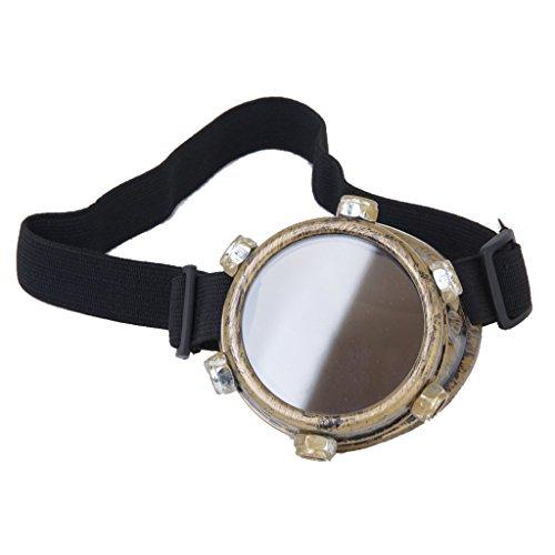 Dcolor Schutzbrille Jahrgang Steampunk Brille Zyklop Brille Gotik Cosplay Kostuem fuer das linke Auge (Messing) (Linkes Auge Kostüm)