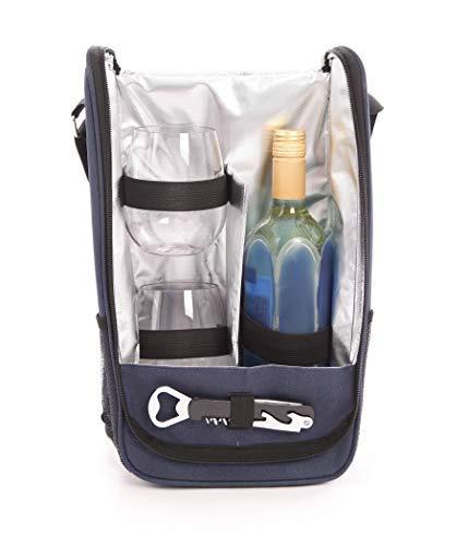 Weinkühltaschen-Set, 2 Triton-Weingläser, ohne Stiel, in Geschenkbox blau Wein-glas