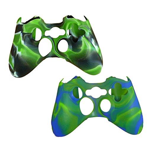 Silikon Schutz Skin Schutzhülle für Sony Playstation Xbox 360Fernbedienung Controller–2Pack Silikon Schutzhülle Game Controller Hülle Blackgreen with Greenblue