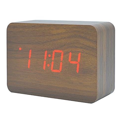 Silent Electronic LED Horloge en bois Horloge numérique Date de